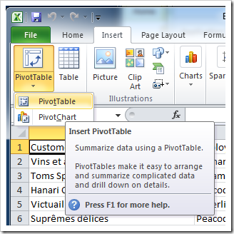 &#39;Insert PivotTable&#39; option in Microsoft Excel