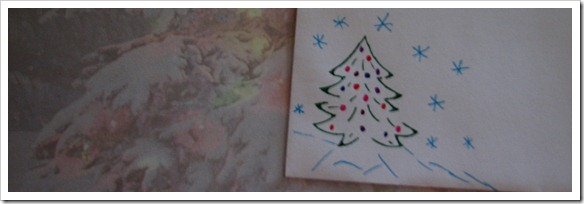 Christmas tree envelope and paper