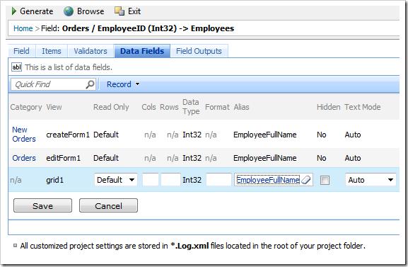 Change Alias to 'EmployeeFullName' for all EmployeeID data fields