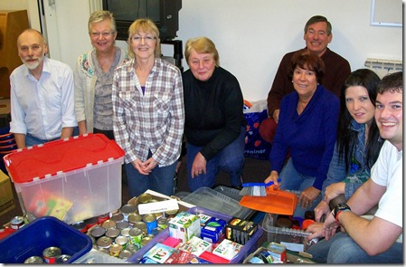 Helpers from St Paul's help Besom with Harvest Gifts