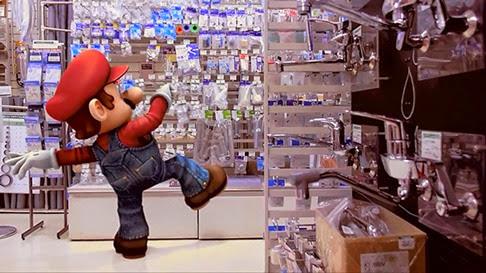 Mario Bros caminando por Tokio
