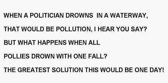 WHEN A POLITICIAN DROWNS  IN A WATERWAY