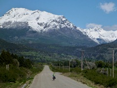Riding towards the border from Trevelin, Argentina.