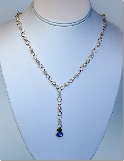 gold-filled necklace with handbuilt links, pearl, moonstone, sapphire, kyanite