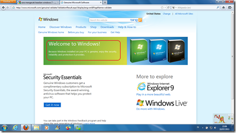 Validasi Windows 7.3