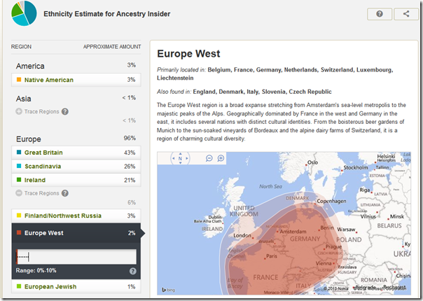 Ancestry DNA map showing historic location of an ethnic group