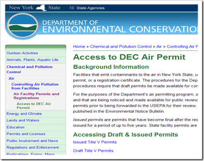 New York Department of Environmental Conservation Air Permits