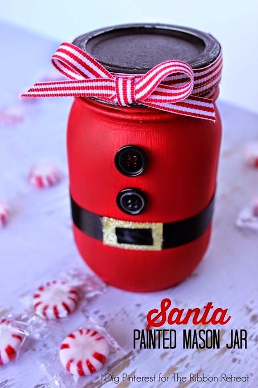 Santa Painted Mason Jar 1