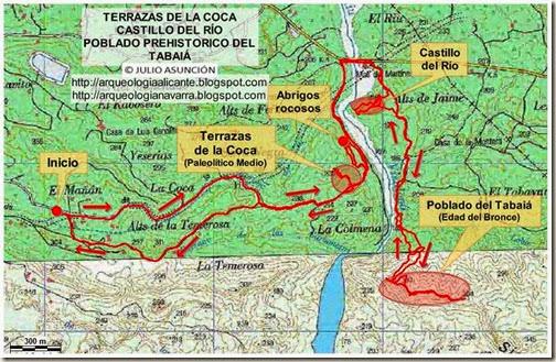 Mapa ruta La Coca - Tabaiá - Castillo del Río