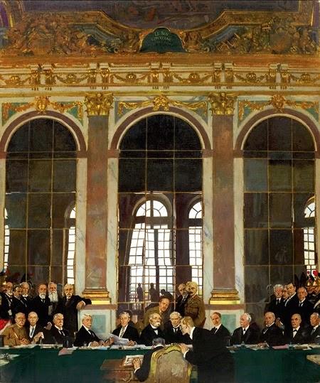 La Firma de la Paz, en el Salón de los Espejos, Versalles, 28 de junio de 1919, por Sir Guillermo Orpen