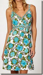 White and Turquoise Floral Strappy Summer Dress