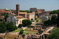 The Roman forum, looking towards the colosseum
