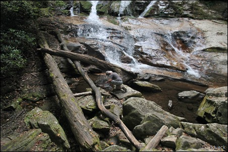 Al gold hunting on second waterfall on High Shoals Falls Trail