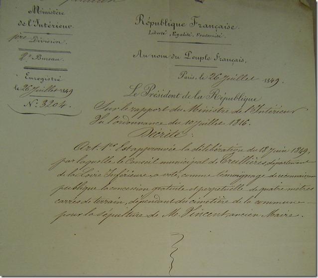 Le Président de la République approuve la concession à perpétuité accordée à A. Vincent