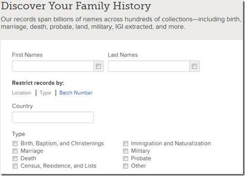 Options to restrict records by location, type, and batch numbers on FamilySearch