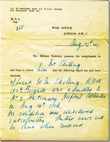 17 Aug 1917 War Office Letter