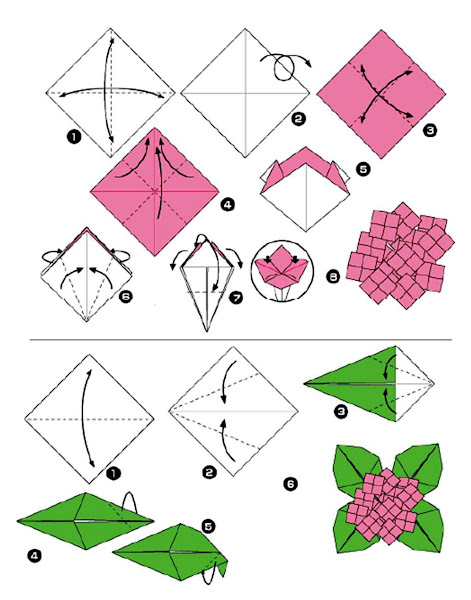 Langkah-langkah Membuat Origami Bunga dan Daun