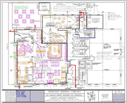 The workshop brewing co traverse city mi floorplan for Brewery floor plan
