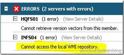 Cannot access the local WMI repository