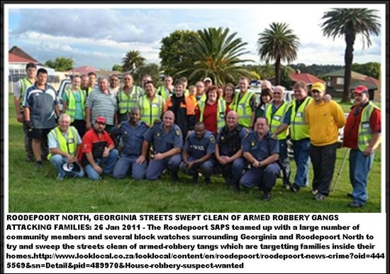 Roodepoort Georgiana families targets of murdergangs police sweep streets 26Jan2011