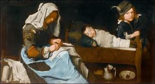 Maître de la toile de jeans, Mère cousant et ses deux enfants