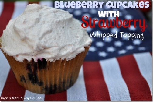 blueberry cupcakes with strawberry whipped topping