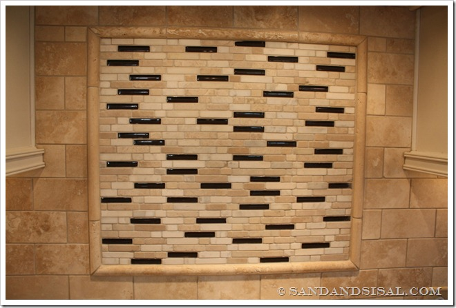 stone tile backsplash -Decorating a Dream Home - www.sandandsisal.com