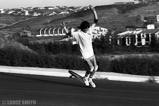 Notice all the vacant land in the background at La Costa as Torger does his nose wheelie