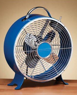 This looks like the kind of fan that could have been in an auto repair shop in the 40s. I love the bright color and retro design. (macys.com)