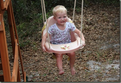 Lynae not loving the swing 06-2011
