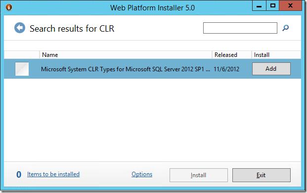 Installing MS System CLR types for SQL Server using Web Platform Installer 5.0.