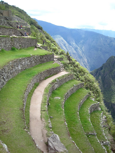 Agricultural terraces carved into the side of a mountain