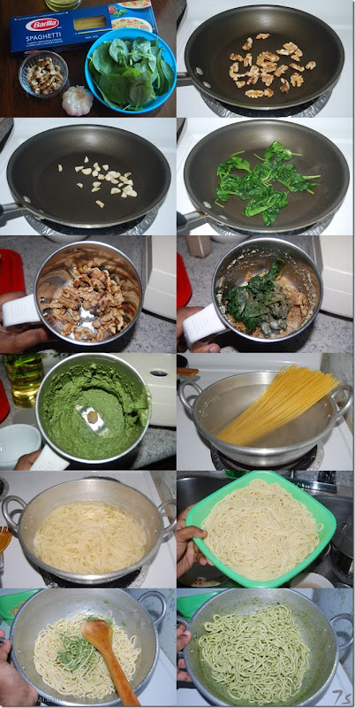 Spaghetti with spinach walnut pesto process