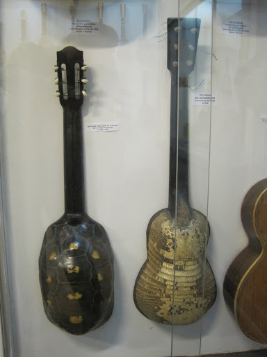 Guitars made from a turtle shell and armadillo at the Museum of Musical Instruments.