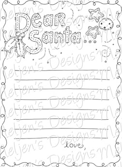 Meljens Designs Letter For Santa Coloring Page FREEBIE
