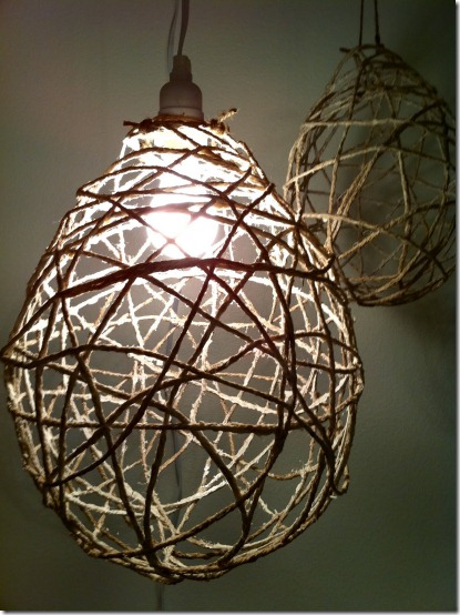 diy projects with jute--make your own pendant light or chandelier out of jute