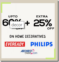 Snapdeal : Buy Home decor Lightings at 60% off + 25 %off, Philips, Eveready and Archies
