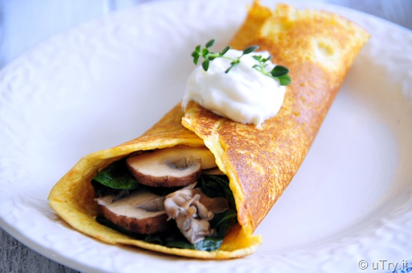 Soccas with Mushrooms and Spinach