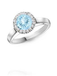 Round Aquamarine and Diamond Cocktail Ring