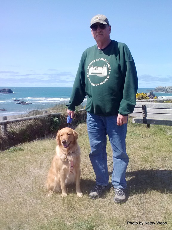 Molly walking with Dad at Face Rock Park in Bandon, OR