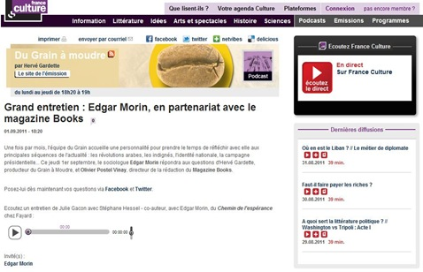Edgard Morin France Culture
