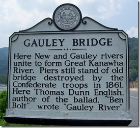 Gauley Bridge marker in Fayette County, WV