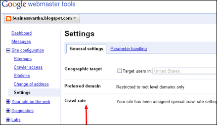 Webmaster Tools - Settings
