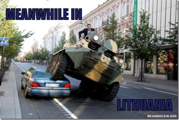 This is the incredible moment a frustrated mayor drives an armoured vehicle over a MERCEDES parked in a cycle lane. Arturas Zuokas has become infuriated with motorists parking their luxury cars illegally around the Lithuanian capital of Vilius. So the 43-year-old politician decided to take the novel approach of fighting illegally parked cars by driving over them in a Russian tank. See swns story SWTANK 2 Aug 2011.