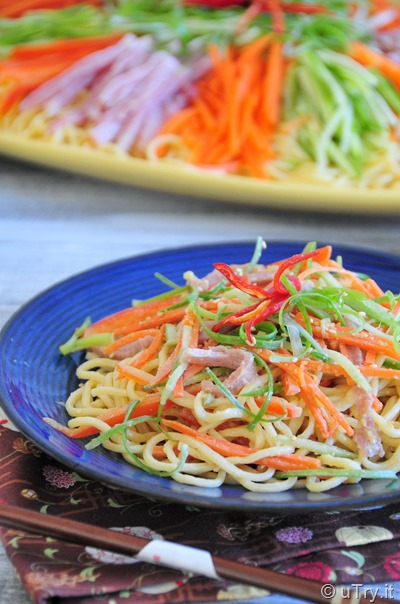 Asian Summer Noodle With Dijon Sesame Dressing (夏の中華冷麵配芝麻芥末醬汁)