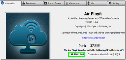 Air Playit client Server per Windows e Mac - Information