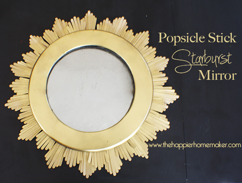 Cheap craft popsicle stick starburst mirror diy