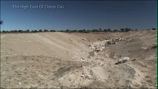 One of many large frack pits in the deep Kalahari, near the Khama Rhino Sanctuary, waiting to be filled with water. Photo: The High Cost of Cheap Gas