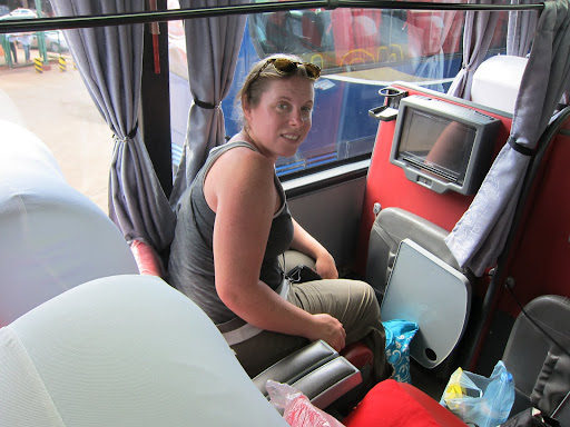 Tucking into the luxury cama suite bus for our final South American bus journey.