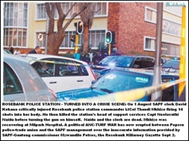 ROSEBANK PD crime scene after shooting by Kekana of two female senior officers Aug12011